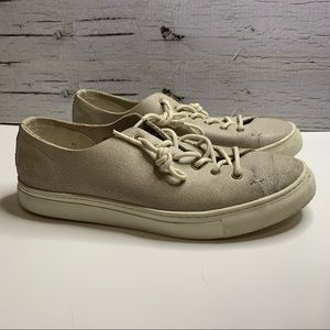 Frank & Oak Leather Cream & White Lace Up Sneakers
